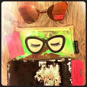 Betsey Johnson  gold sunglasses & 2 cases NWT